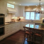 Custom white flush inset cabinets with granite counters